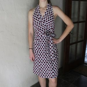 J. Crew Preppy Geometric Print Tie Dress NWOT